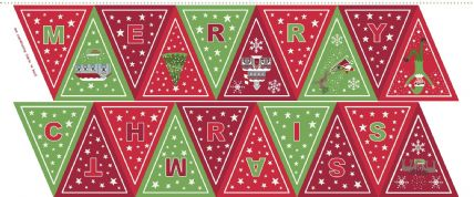 Lewis & Irene - Christmas Glow - 6717 -  Bunting Panel, Green & Red - C52.3 - Cotton Fabric